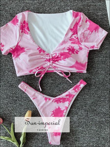 Puff Sleeve Floral Bikini top Tie Dye Set SUN-IMPERIAL United States