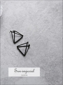 Punk Earrings Set for Women Geometric 3d Triangle Hollow Polygon SUN-IMPERIAL United States