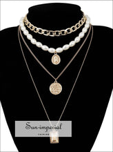Punk Multi Layered Pearl Choker Necklace Collar Statement Virgin Mary Coin Crystal Pendant SUN-IMPERIAL United States