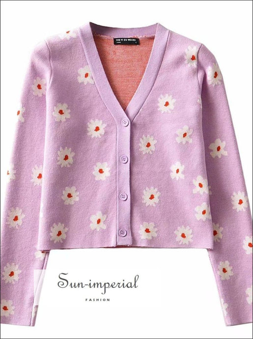 Purple 2 Piece Cardigan and Skirt Set Knitted Daisy Pattern Two Sweater side Slit Mini chick sexy style SUN-IMPERIAL United States