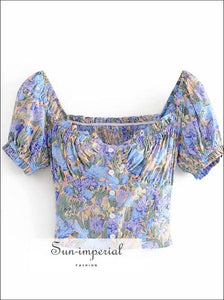 Purple Blue Floral Print Women Blouse Center Buttoned Ruched Bust top SUN-IMPERIAL United States