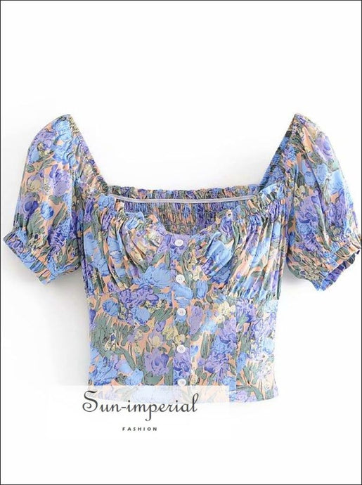 Purple Blue Floral Print Women Blouse Center Buttoned Ruched Bust top