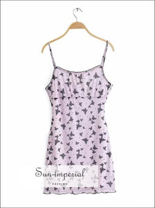 Purple Butterfly Print Bodycon Mesh Cami Mini Dress