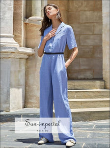 Purple Casual Loose Short Sleeve Buttoned Workwear Jumpsuit Lapel Collar Wide Leg SUN-IMPERIAL United States
