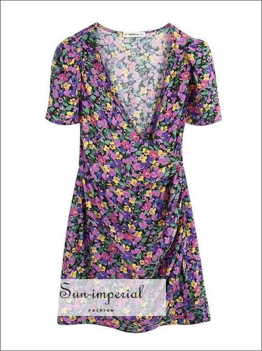 Purple Elegant Floral Print Wrap Short Sleeve Mini Dress with side Tie detail elegant style, party dress, vintage style SUN-IMPERIAL United