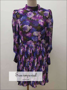 Purple Floral Pleated Turtleneck Long Sleeve Elegant Mini Dress Dresses, elegant style SUN-IMPERIAL United States