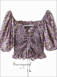 Purple Floral Print Drawstring off the Shoulder Cropped Women Blouse Vintage Cropped top