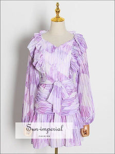 Purple Midi V Neck Dress with Lantern Long Sleeve Tie Waist and Ruffle detail SUN-IMPERIAL United States