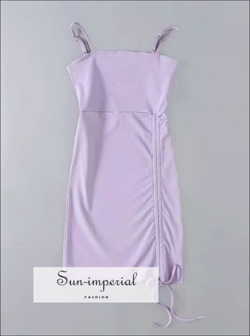 Purple Mini Drawstring Cami Bodycon Mini Dress