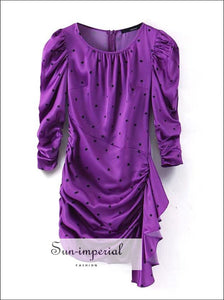Purple Polka Dot Print Asymmetrical Puff Long Sleeve Mini Dress Women