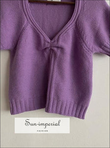 Purple Short Sleeve Women's V-neck Vintage Pullover Sweater top vintage style SUN-IMPERIAL United States
