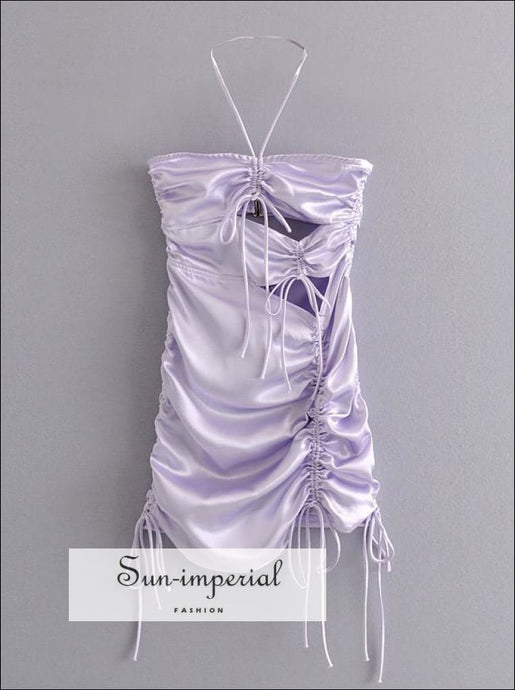 Purple Silk like Cut out Drawstring Halter Mini Dress Ruched Party Dress