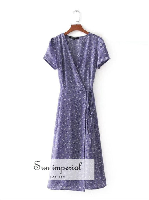 Purple Wrap Summer Dress V Neck Puff Sleeve Bow Tie Floral Print Vintage Midi Dress