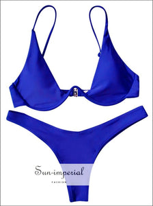 Push up Plunge Bathing Suit - Blue SUN-IMPERIAL United States