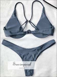 Push up Plunge Bathing Suit - Gray SUN-IMPERIAL United States