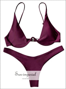 Push up Plunge Bathing Suit - Merlot SUN-IMPERIAL United States