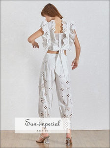 Sun-Imperial Rachel Pants Set - Vintage White Lace Two Piece Set Sleeveless top High Waist Ankle Length Pants
