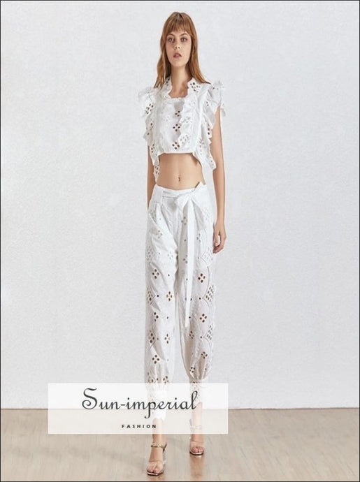 Rachel Pants Set - Vintage white lace Two Piece Set Sleeveless Top High Waist Ankle Length Pants Casual High Waist Sleeveless Two Piece Set