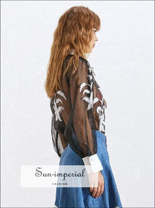 Raven top - Women Sheer Bow Collar Lantern Sleeve Embroidery Blouse
