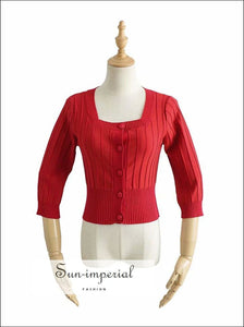 Red Cardigan Casual Center Buttoned Knitted Sweater