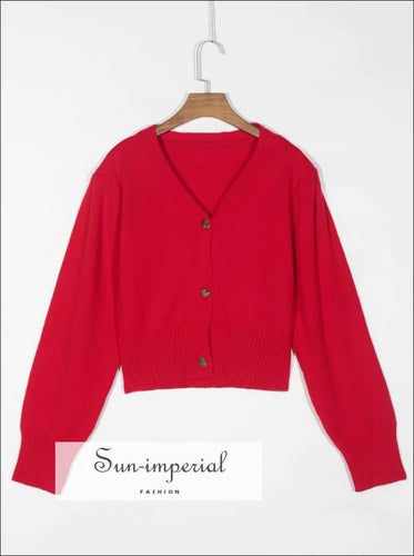 Red Cardigan with Golden Heart Shaped Buttons Women Casual Knitted Sweater SUN-IMPERIAL United States