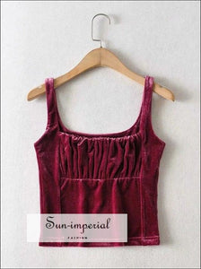 Red Draped front Velvet Tank top Ruched Basic style, chick sexy style SUN-IMPERIAL United States