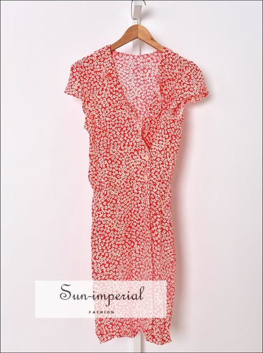 Red Floral Print side Buttons and Ruffles detail Short Sleeve V-neck Mini Dress vintage style SUN-IMPERIAL United States