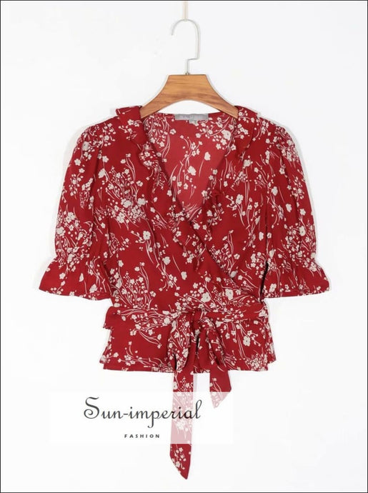Red Floral Print Wrap Short Sleeve Women Blouse Vintage V Neck top SUN-IMPERIAL United States