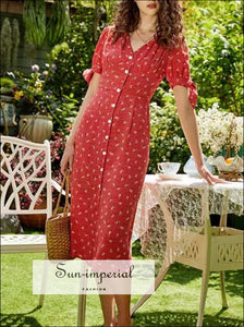 Red Floral Single Breasted Vintage Short Sleeve Midi Dress vintage style SUN-IMPERIAL United States