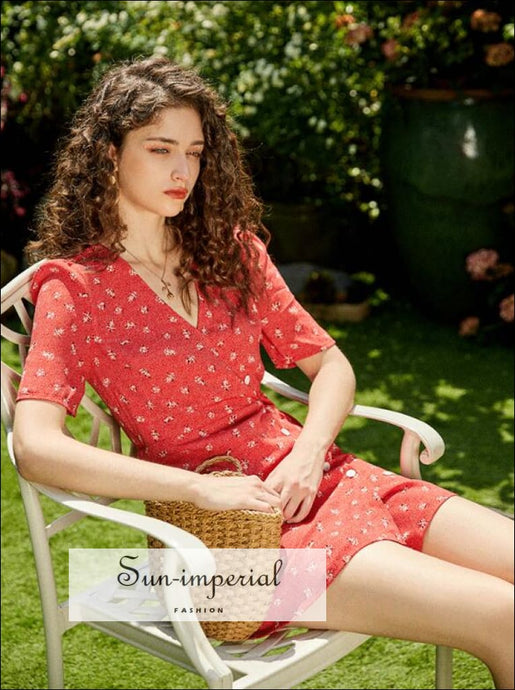 Red Grandma Flower Bouquet Print side Buttons Mini Dress SUN-IMPERIAL United States