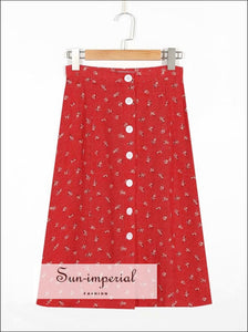 Red High Waist Split Skirt Slim Cut Buttoned Flower Print Skirt