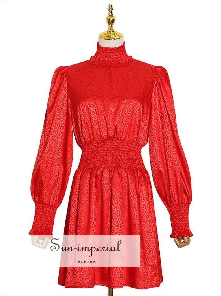 Red Long Lantern Sleeve Leopard Turtle Neck A-line Satin Mini Dress bohemian style, boho casual elegant harajuku style SUN-IMPERIAL United
