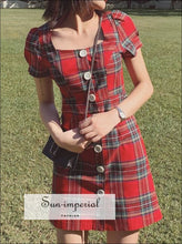 Red Plaid Mini Dress Short Seleeve Buttoned front Square Neck