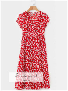 Red Summer Wrap Midi Dress with White Floral Print Short Calf Sleeve Dress