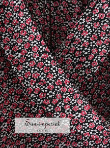 Red Vintage Chiffon Wrap top Flowers Print Short Sleeve Blouse SUN-IMPERIAL United States