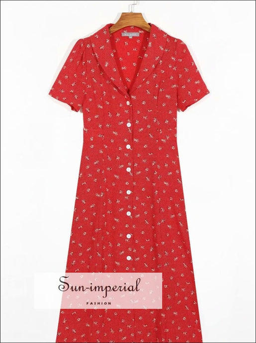 Red Vintage Floral Buttoned Short Sleeve Midi Dress