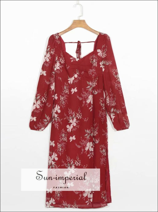 Red Vintage Long Sleeve Dress with Floral Print Ruched Bust Cut out back Tie Waist Midi chick sexy style, vintage style SUN-IMPERIAL United
