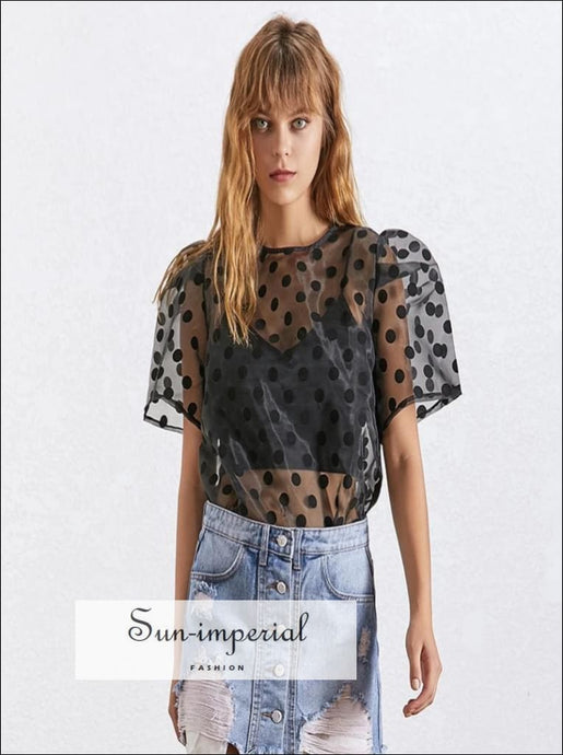 Rennes Top - Women Black sheer polka Dot Blouse O Neck Short Sleeve top Dot Perspective Shirt O Neck Short Sleeve Vest Blouse Vintage