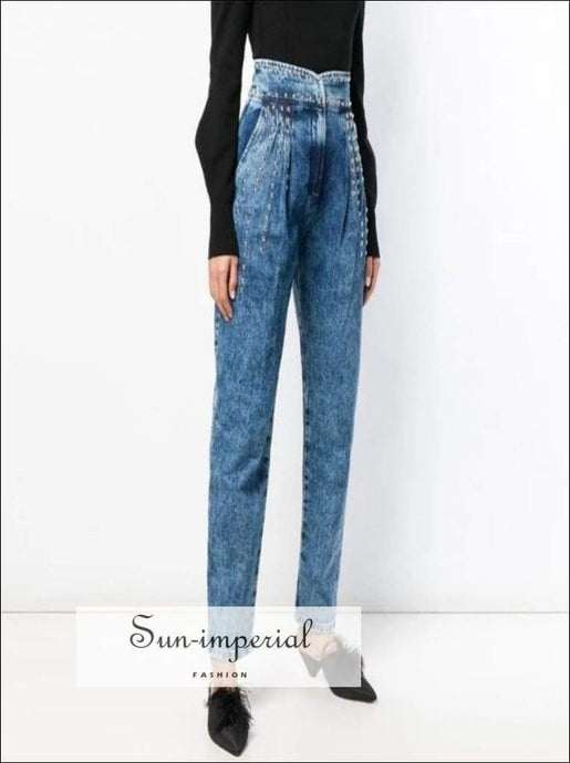 Ria Denim - Tie Trousers for Women High Waist Ankle Length Straight Jeans A Line Dress, Waist, Patchwork Trousers, Jeans, Vintage