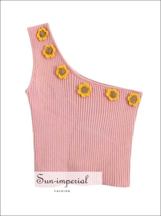 Ribbed One Shoulder Blouse Asymmetrical Cropped Knitted Women top with Flower detail chick sexy style SUN-IMPERIAL United States
