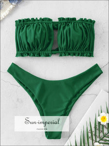 Ribbed Tie Cutout Bandeau Bikini Swimsuit - Sea Green
