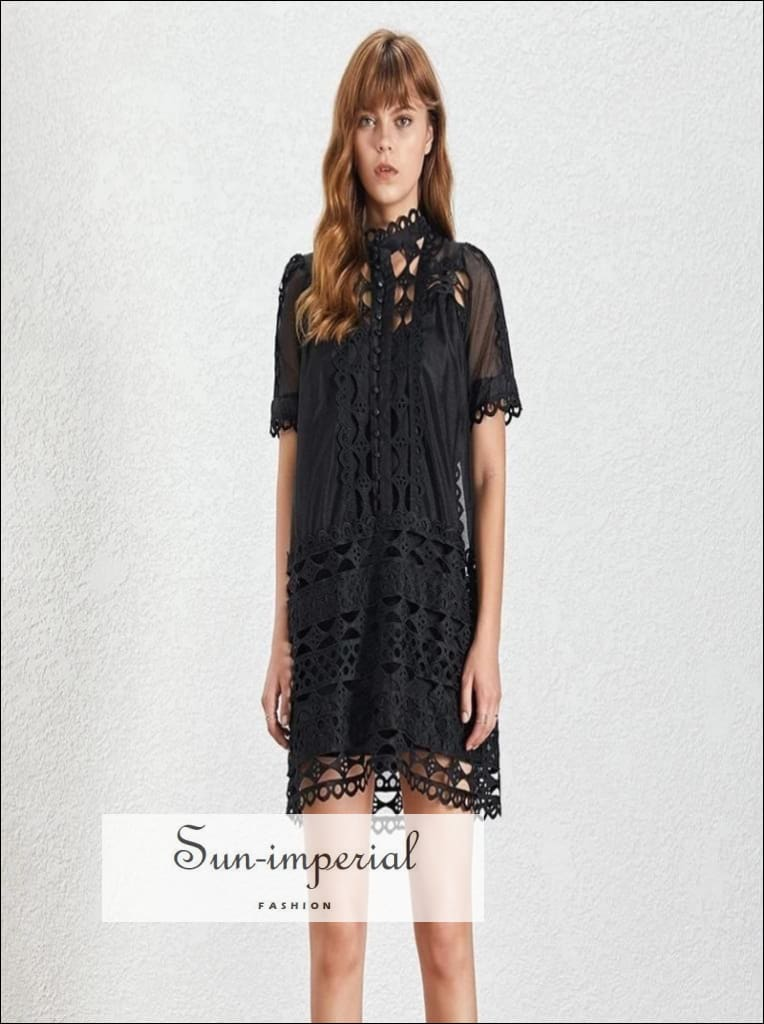 Rickie Dress - Vintage Women lace black and white Dress Short Sleeve Loose mini Dress Casual Length Straight Short Sleeve vintage Women