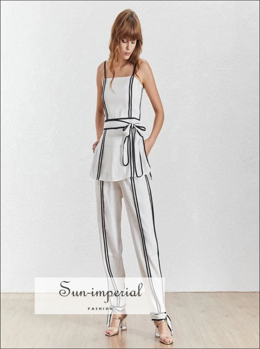Rimini Pants Set - Vintage women Two Piece pants Set cami Tunic Top High Waist Side Split Long Pants High Waist Long Pants Sleeveless Two
