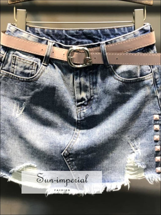 Ripped Denim Skirt High Waist Mini Skirt Women A-line Split Jeans Skirt S- 2xl