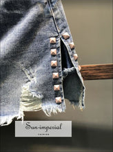 Ripped Denim Skirt high waist mini skirt women a-line split jeans skirt S- 2XL BASIC SUN-IMPERIAL United States