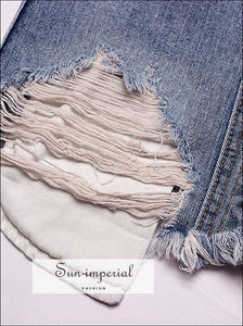 Ripped Distressed A-line High Waist Mini Denim Skirt SUN-IMPERIAL United States