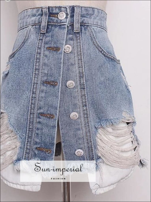 Ripped Distressed A-line High Waist Mini Denim Skirt