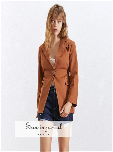River Coat -Summer Solid OL Blazer Coat Notched Collar Long Sleeve Button Coat For Women Long Sleeve Notched Collar Solid OL Blazer vintage