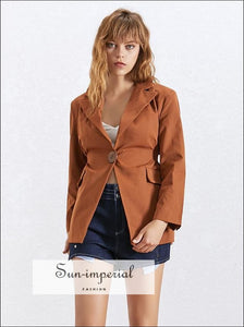 River Coat -summer Solid Ol Blazer Coat Notched Collar Long Sleeve Button Coat for Women