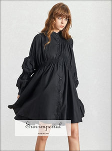 Ronda Dress- Solid Black and White Casual Midi Dress Stand Collar Puff Long Sleeve Buttoned Knee Length Dresses, Sleeve, Collar, Summer